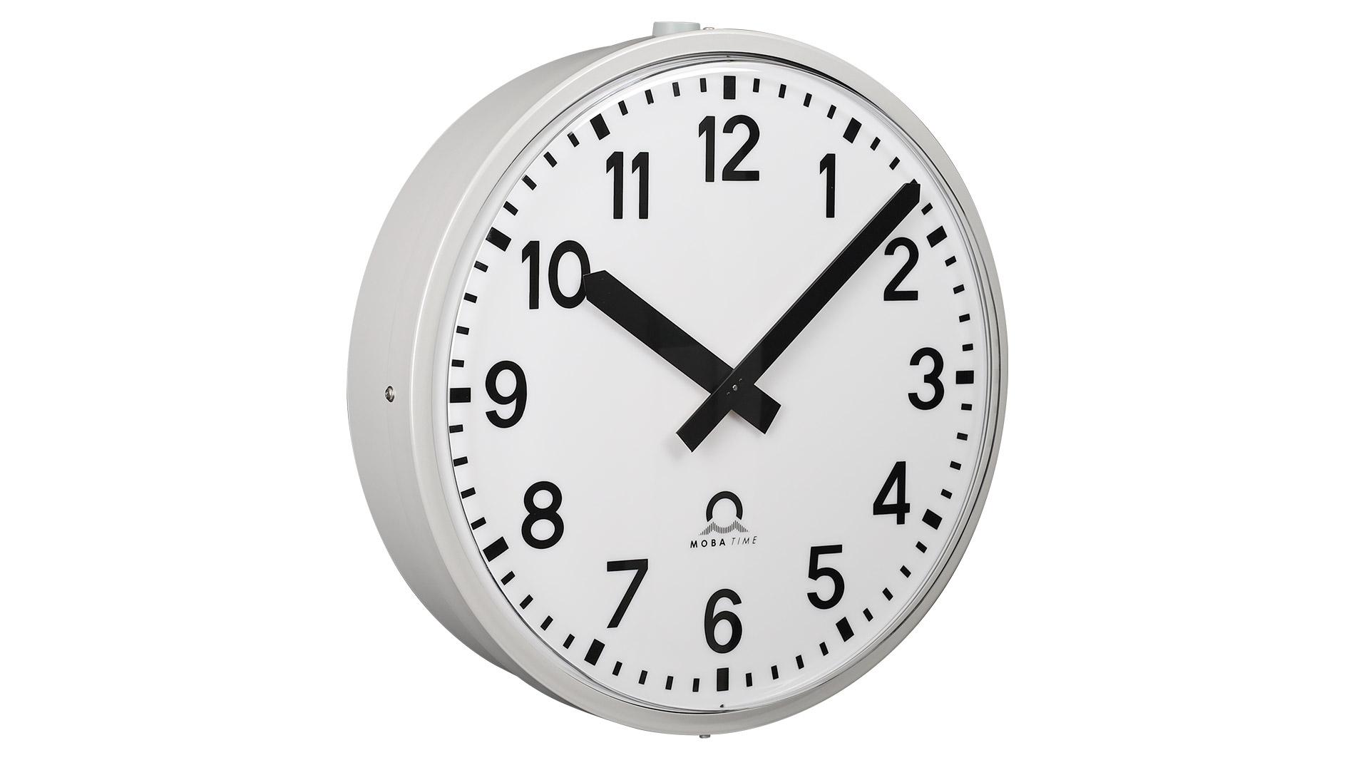 Mobatime metroline outdoor analogue clock, metallic case (Aluminum) side view