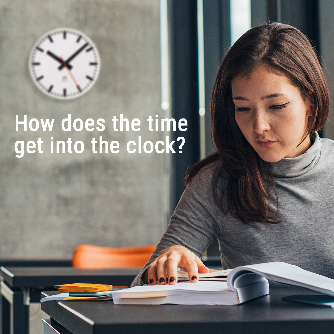 How does the time get into the clocks?