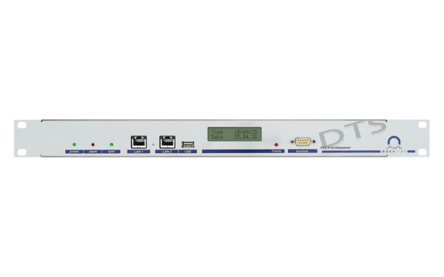 Mobatime dts4132-1 NTP time server DCF IRIG synchronization front view