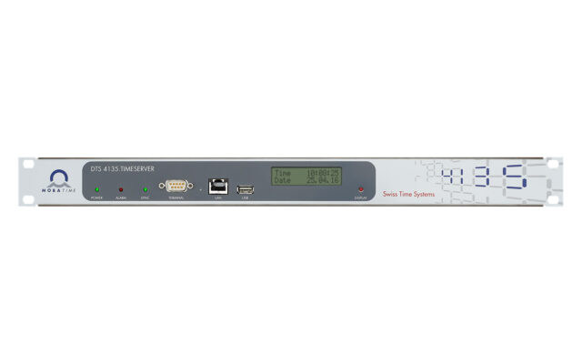 Mobatime dts4135-1 time server NTP front view DCF IRIG synchronization