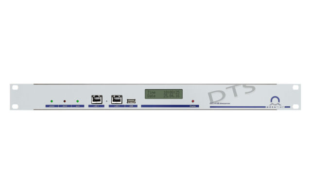 Mobatime dts4138-1 time server NTP front view DCF IRIG synchronization