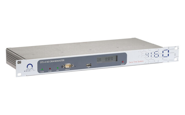 Mobatime dts4160-3 NTP PTP time server IEEE-1588 grandmaster DCF E1 SyncE pulse frequency phase synchronization IRIG
