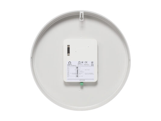 Mobatime eco-2 indoor analogue clock back view white housing