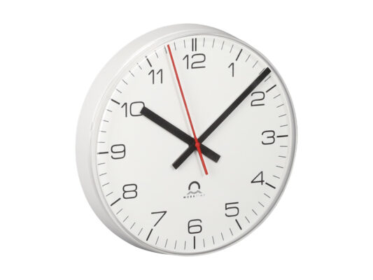 Mobatime eco-3 indoor analogue clock side view white housing