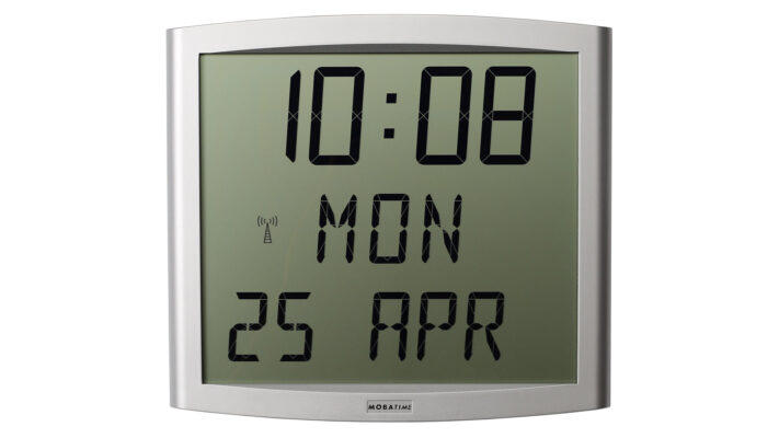 Mobatime CRISTALDATE_front indoor digital clock time date weekdays temperature
