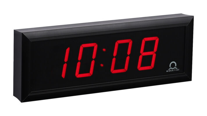 Mobatime DC-57-4_3 indoor digital clock time date temperature black housing