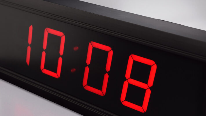 Mobatime DC-57-4_5 indoor digital clock time date temperature black housing