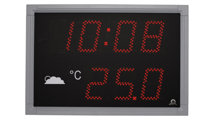 Mobatime DT100-4-1 outdoor digital clock time temperature Black powder coated aluminium