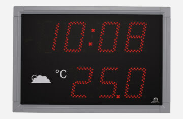 Mobatime DT Series outdoor digital clock Black powder coated aluminium housing Time temperature