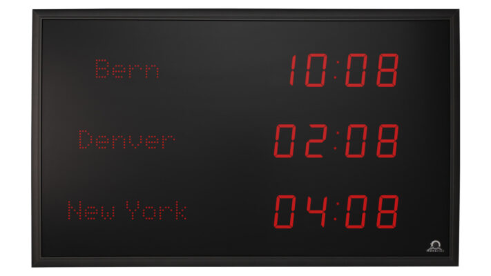 Mobatime TZI-57-1 indoor digital clock location name front view