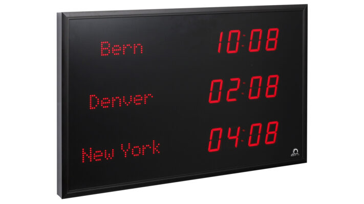 Mobatime TZI-57-3 indoor digital clock time location name side view