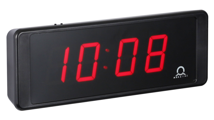 Mobatime ECO-DC SERIES, side view, indoor digital clock black housing