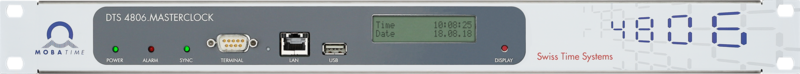 Mobatime DTS 4806.masterclock, front view, Disply Time Date, NTP