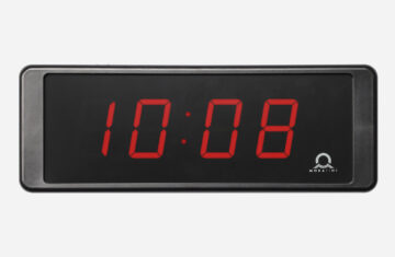 Mobatime ECO-DC SERIES, front view, indoor digital clock, black housing