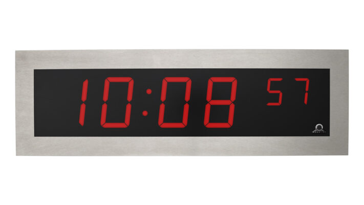 Mobatime SLH-DC, indoor digital clock with stainless steel housing