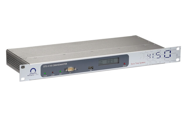 Mobatime DTS 4150 time server, Side view, PTP, NTP, SyncE, DCF
