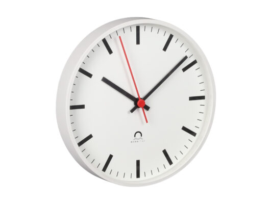 indoor clock analog Trend, Side view, white housing, white dial, black hands, red second hand.