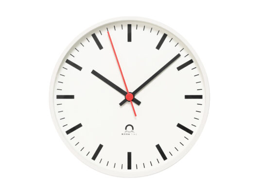 indoor clock analog Trend, front view, white housing, white dial, black hands, red second hand.