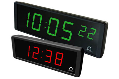 digital indoor clock ECO DC side view with 2 clocks 57mm and 100mm charakter height